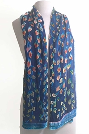 Sherit Levin Textiles Blue Vines Scarf - Front full body