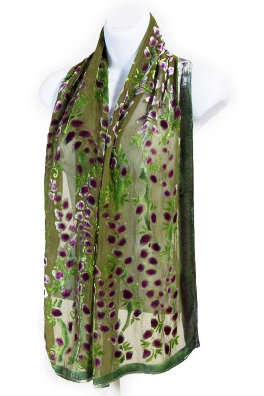 Sherit Levin Textiles Olive Willows Scarf - Front Full Image