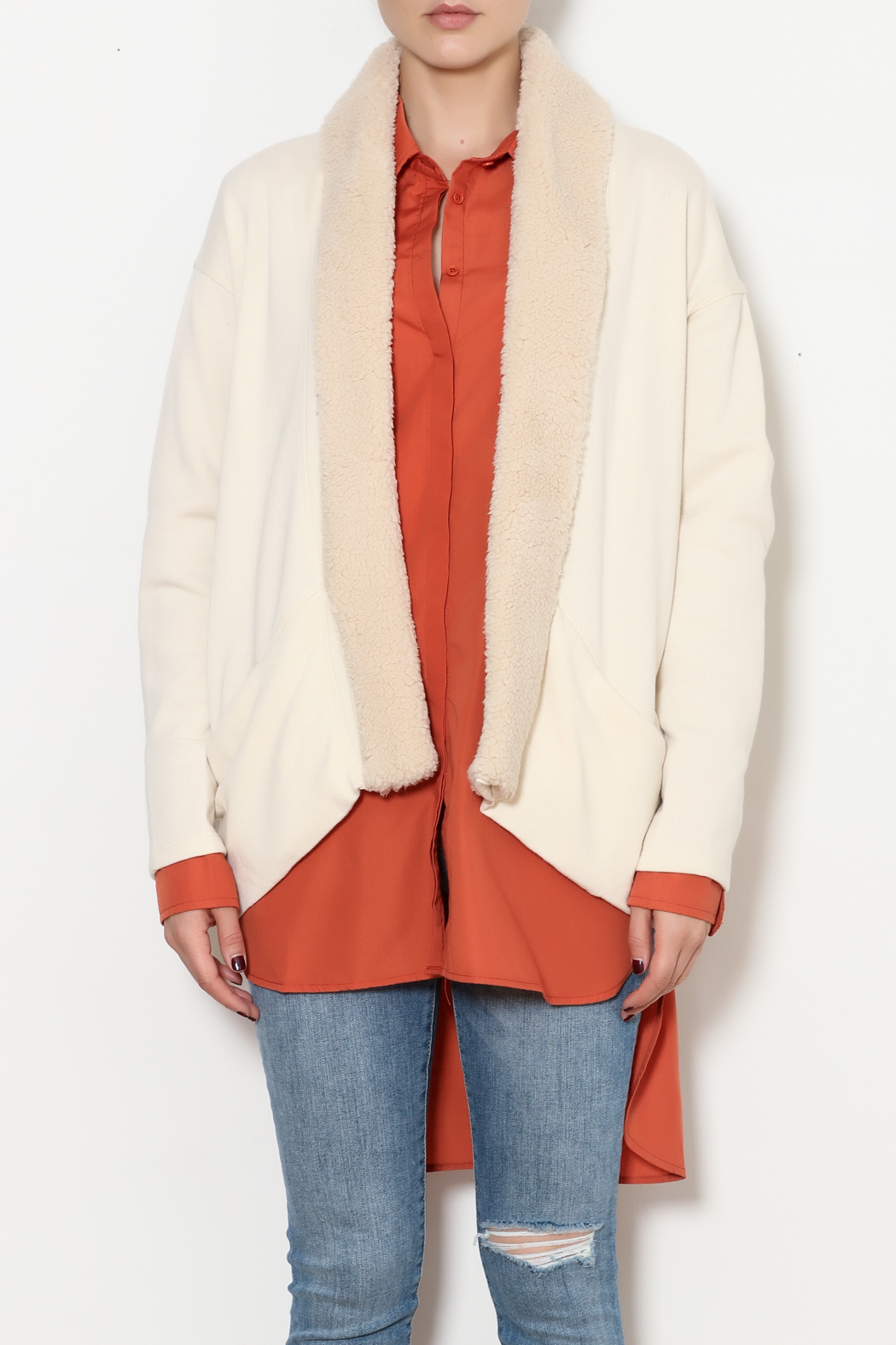 z supply Sherpa Cocoon Cardigan - Front Full Image