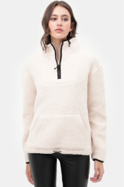 trend notes Sherpa Fleece Half Zip Up Pullover Top - Product Mini Image