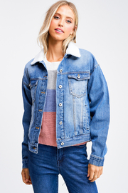 MONTREZ Sherpa fleece trucker denim jacket - Product Mini Image