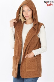 Zenana Sherpa Hooded Vest - Product Mini Image