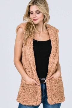 Polly & Esther Sherpa Hooded Vest - Product List Image