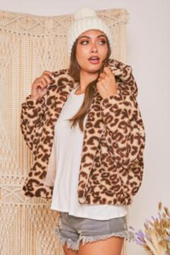 Fantastic Fawn  Sherpa Leopard Hooded Jacket - Product List Image
