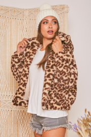 Fantastic Fawn  Sherpa Leopard Hooded Jacket - Product Mini Image