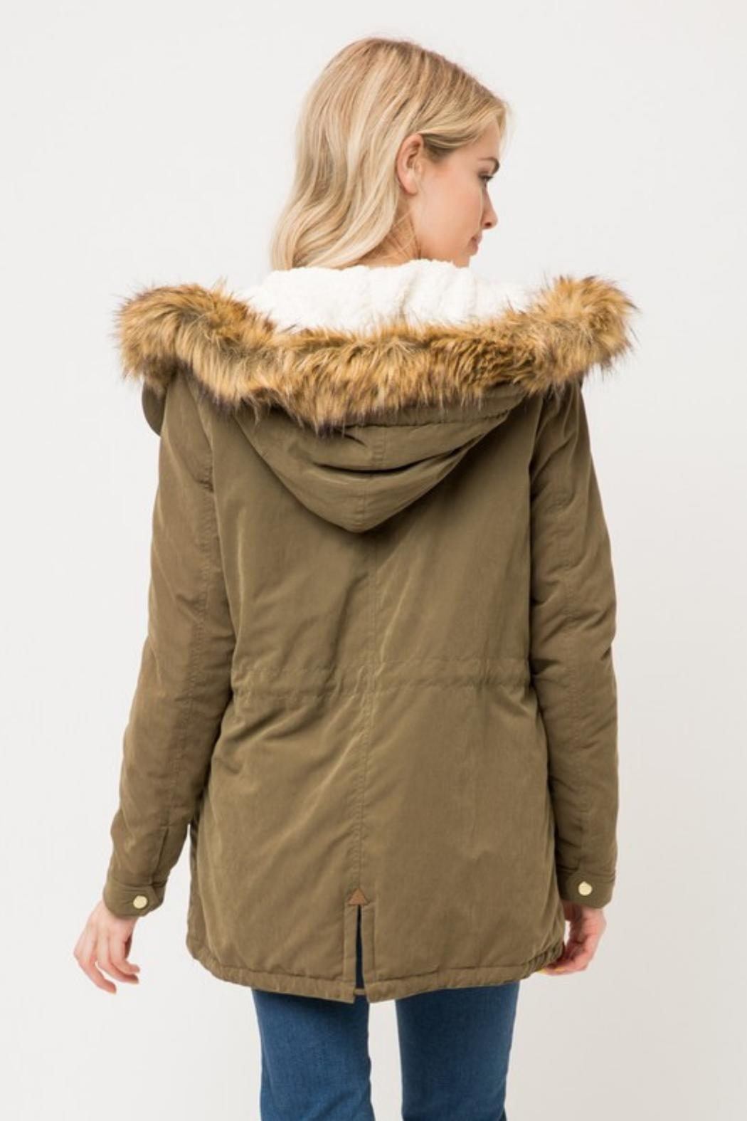 Love Tree Sherpa Lined Jacket - Side Cropped Image