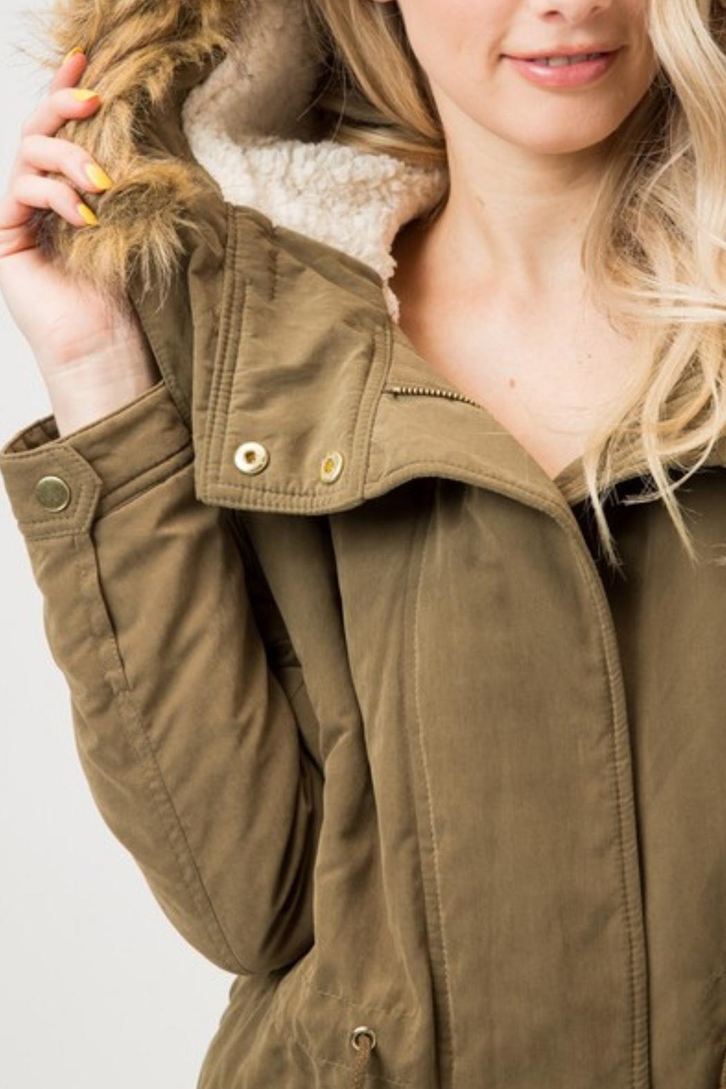 Love Tree Sherpa Lined Jacket - Front Full Image