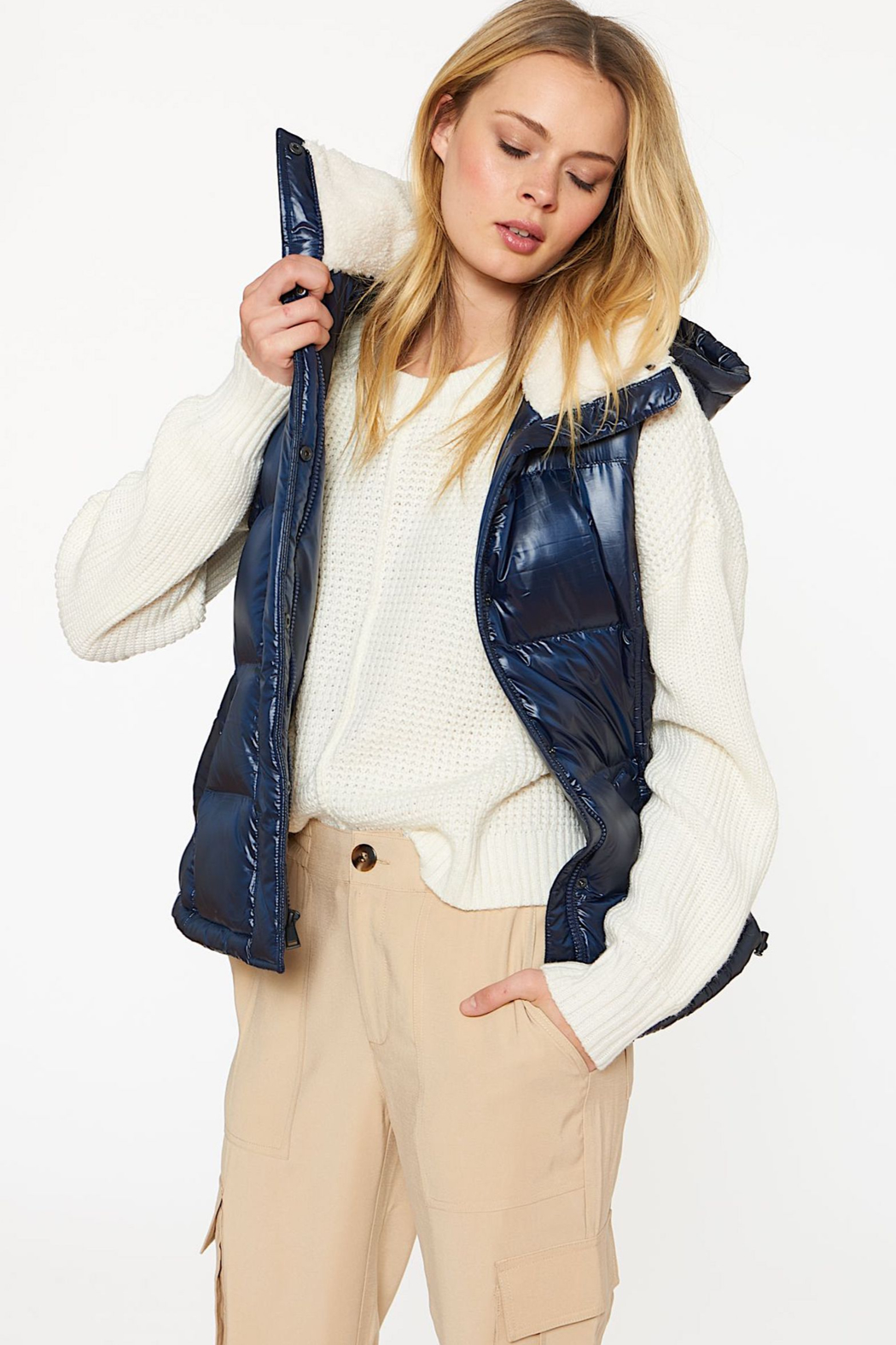 Sanctuary Sherpa-lined Puffer Vest - Side Cropped Image