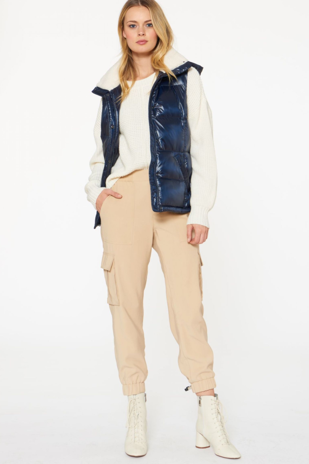 Sanctuary Sherpa-lined Puffer Vest - Back Cropped Image