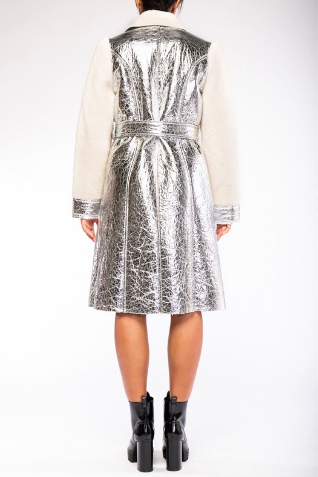 rehab lab  Sherpa Metallic Foil Coat - Side Cropped Image