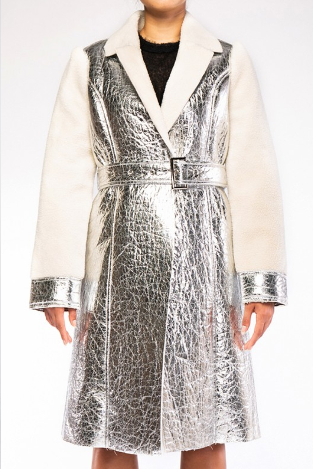 rehab lab  Sherpa Metallic Foil Coat - Front Cropped Image