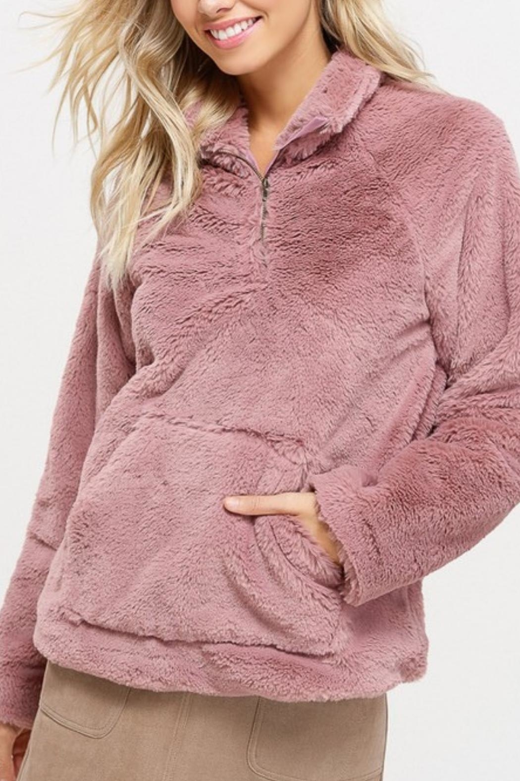 Listicle Sherpa Pull-Over Sweater - Main Image