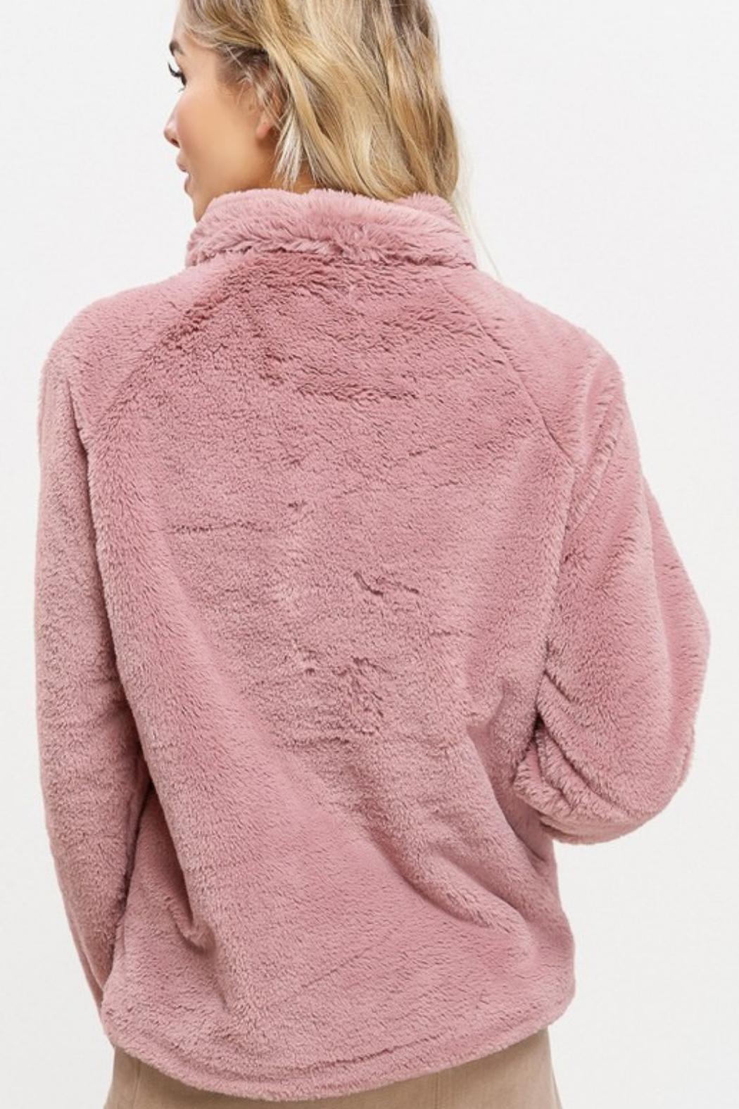 Listicle Sherpa Pull-Over Sweater - Back Cropped Image
