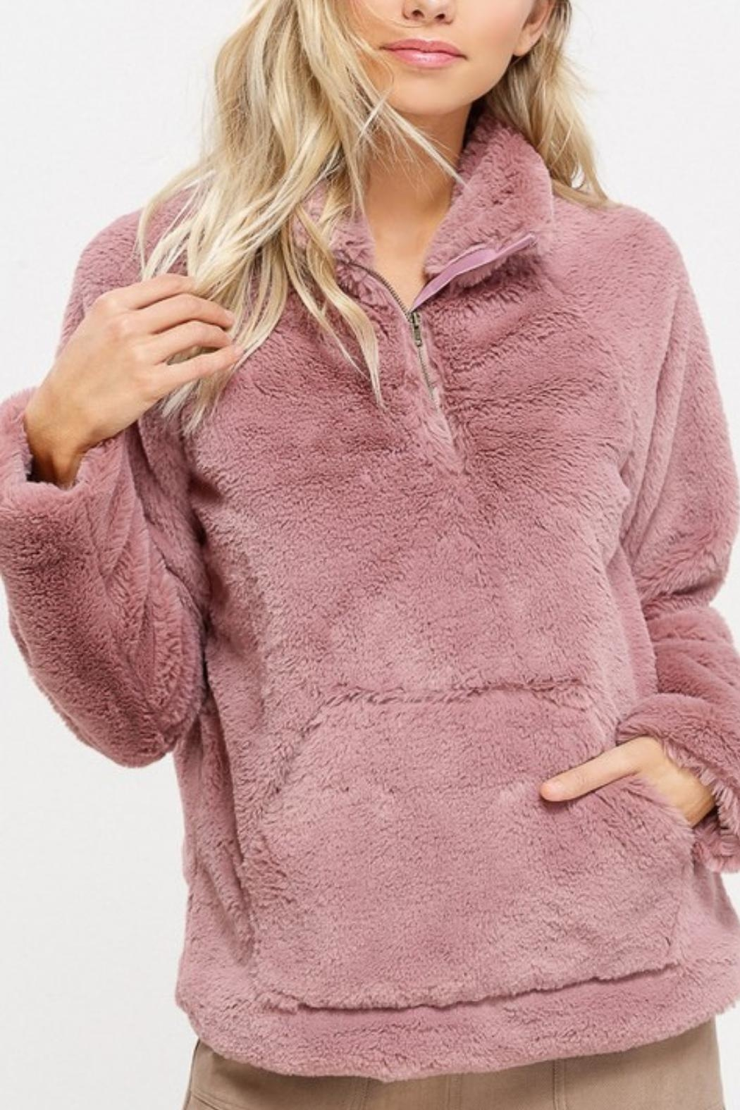 Listicle Sherpa Pull-Over Sweater - Front Cropped Image