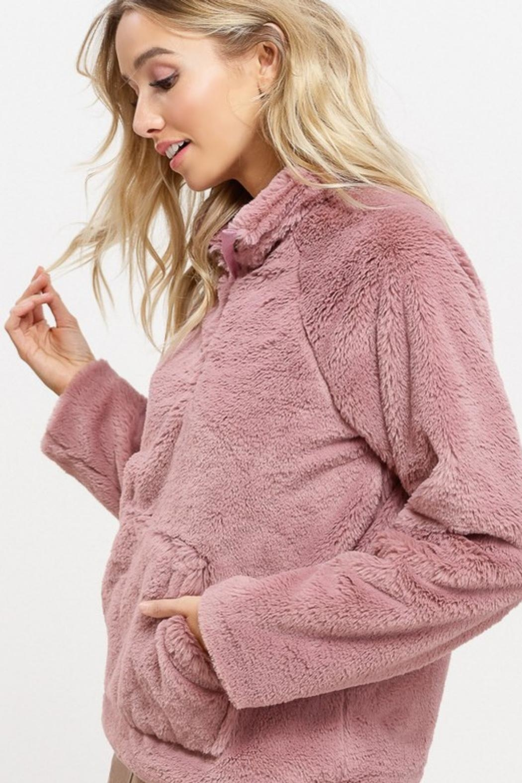 Listicle Sherpa Pull-Over Sweater - Front Full Image