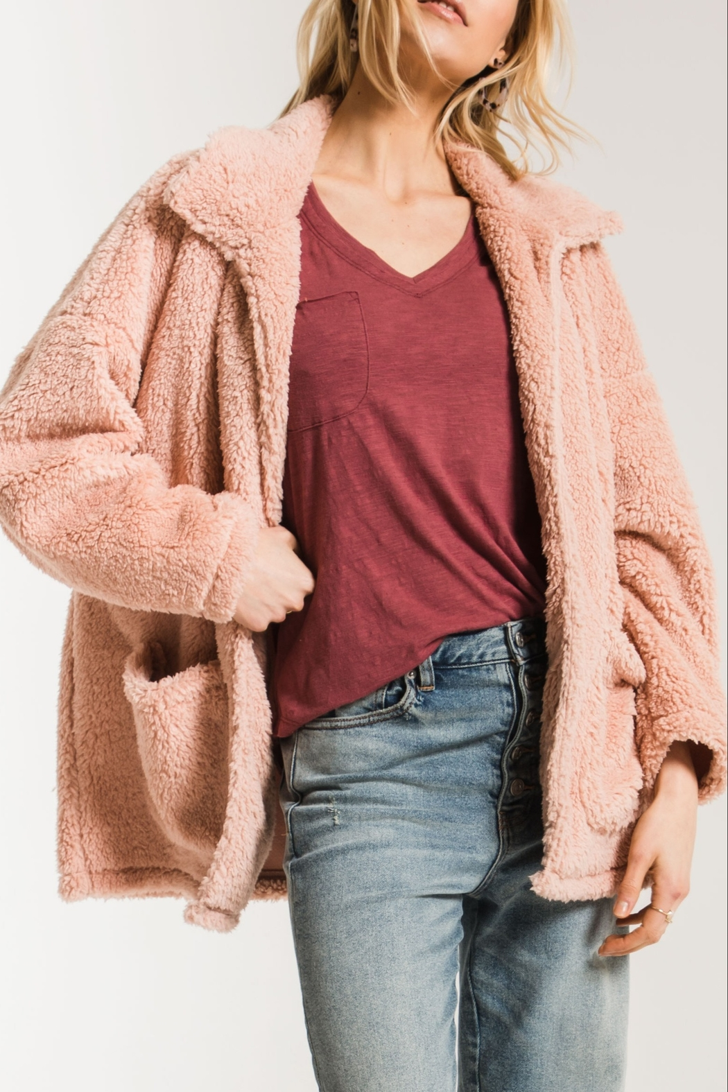z supply Sherpa Teddy Jacket - Front Cropped Image