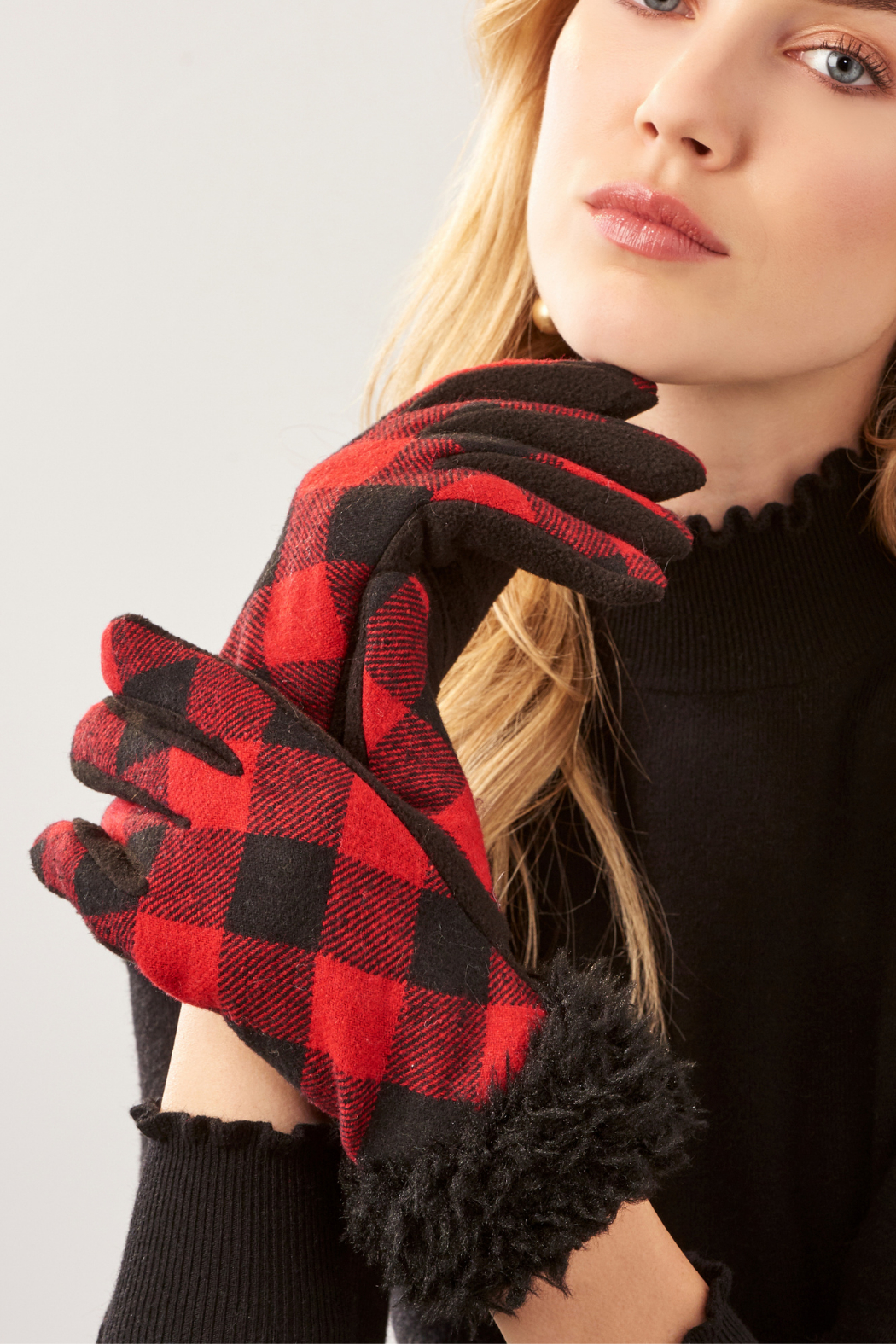 Giftcraft Inc.  Sherpa Trimmed Plaid Gloves - Main Image