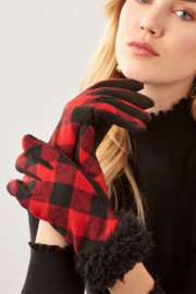 Giftcraft Inc.  Sherpa Trimmed Plaid Gloves - Front cropped