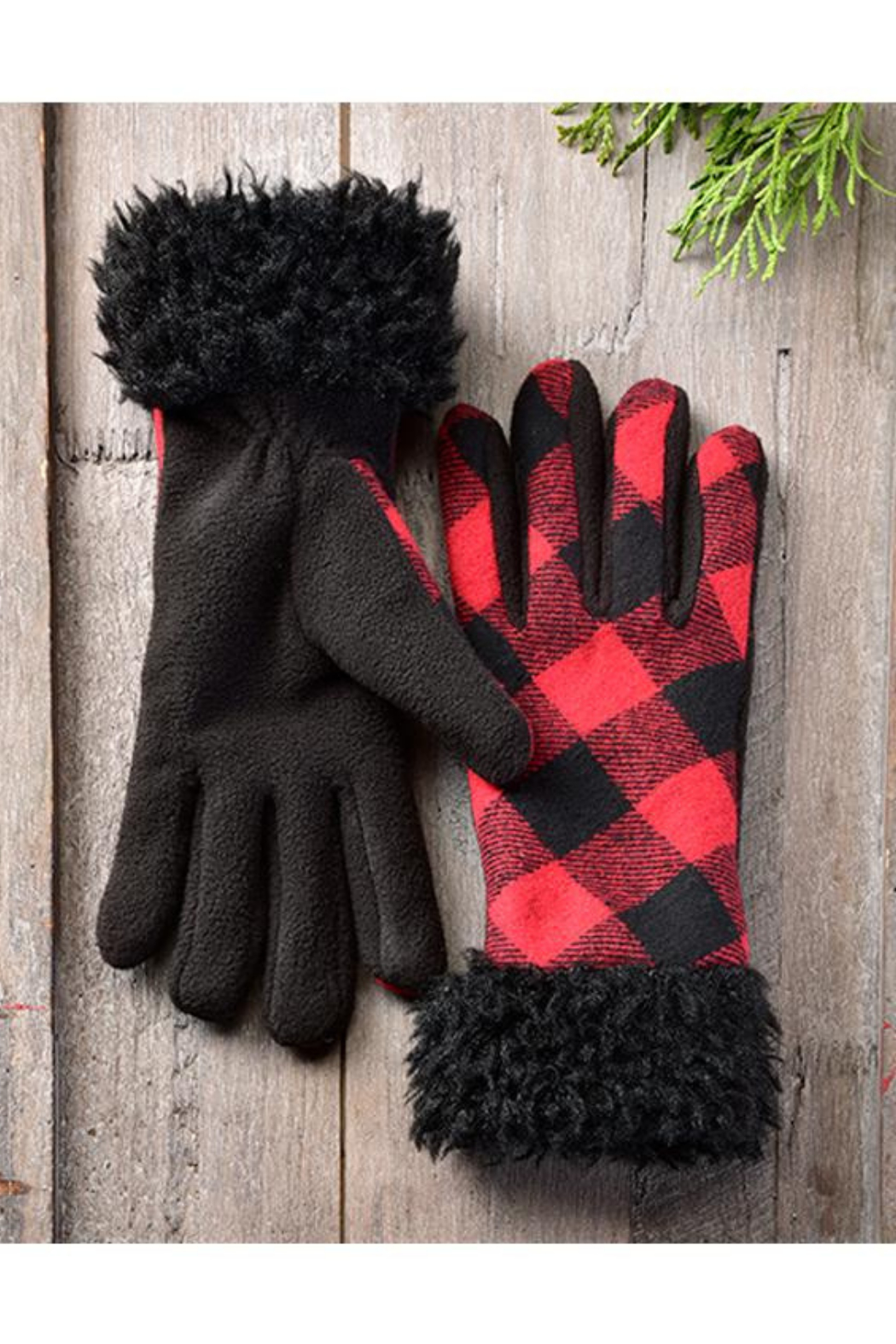 Giftcraft Inc.  Sherpa Trimmed Plaid Gloves - Front Full Image
