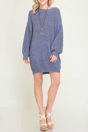 She + Sky Shift Sweater Dress - Product Mini Image