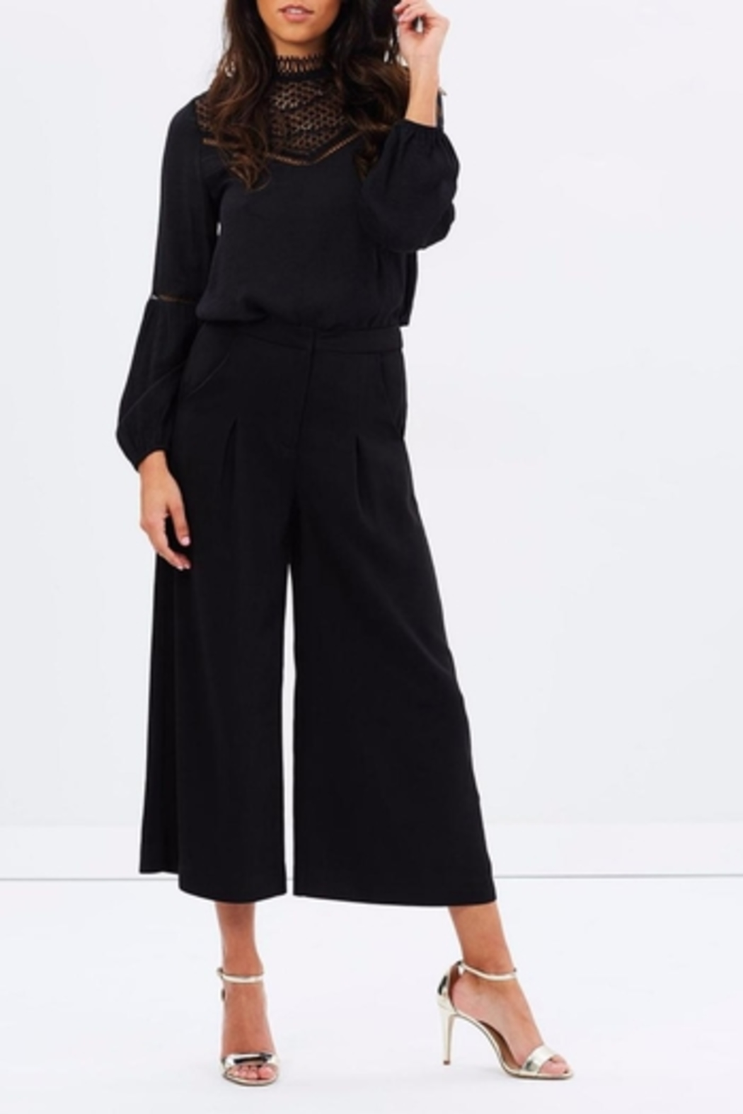 Shilla Flare Black Culotte - Side Cropped Image