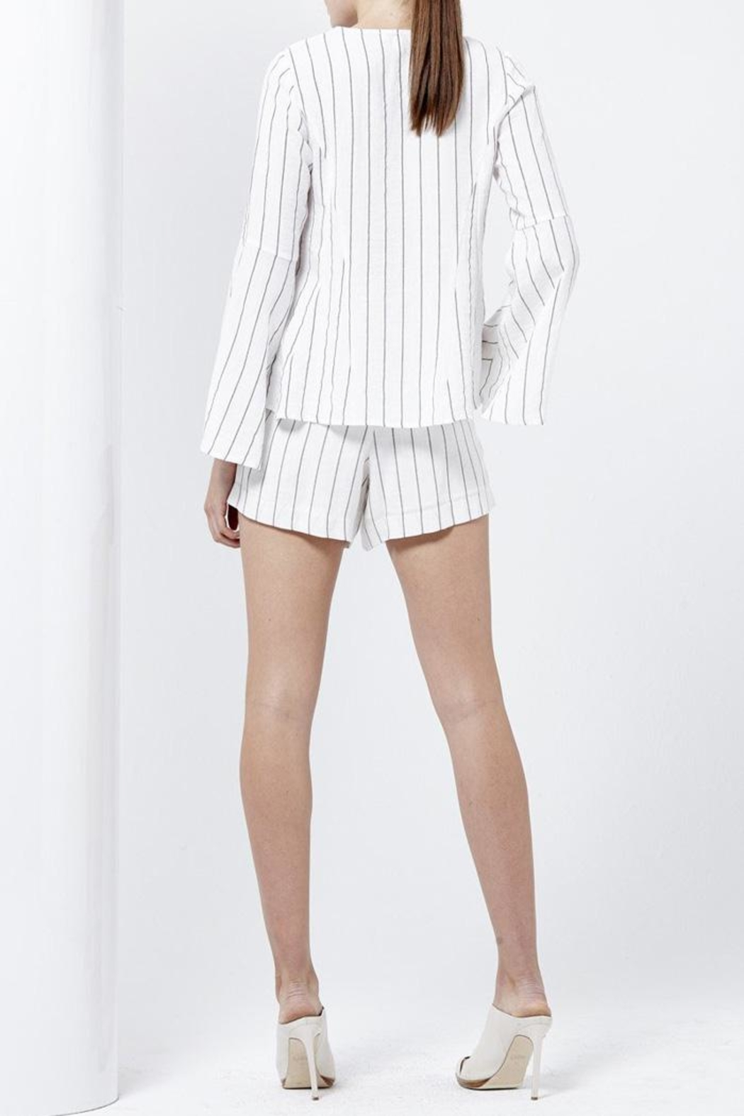 Shilla Striped Flared Top - Side Cropped Image