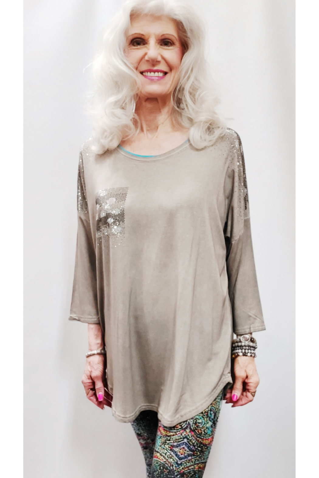 Apparel Love Shimmer Detailed Tunic Top - Main Image