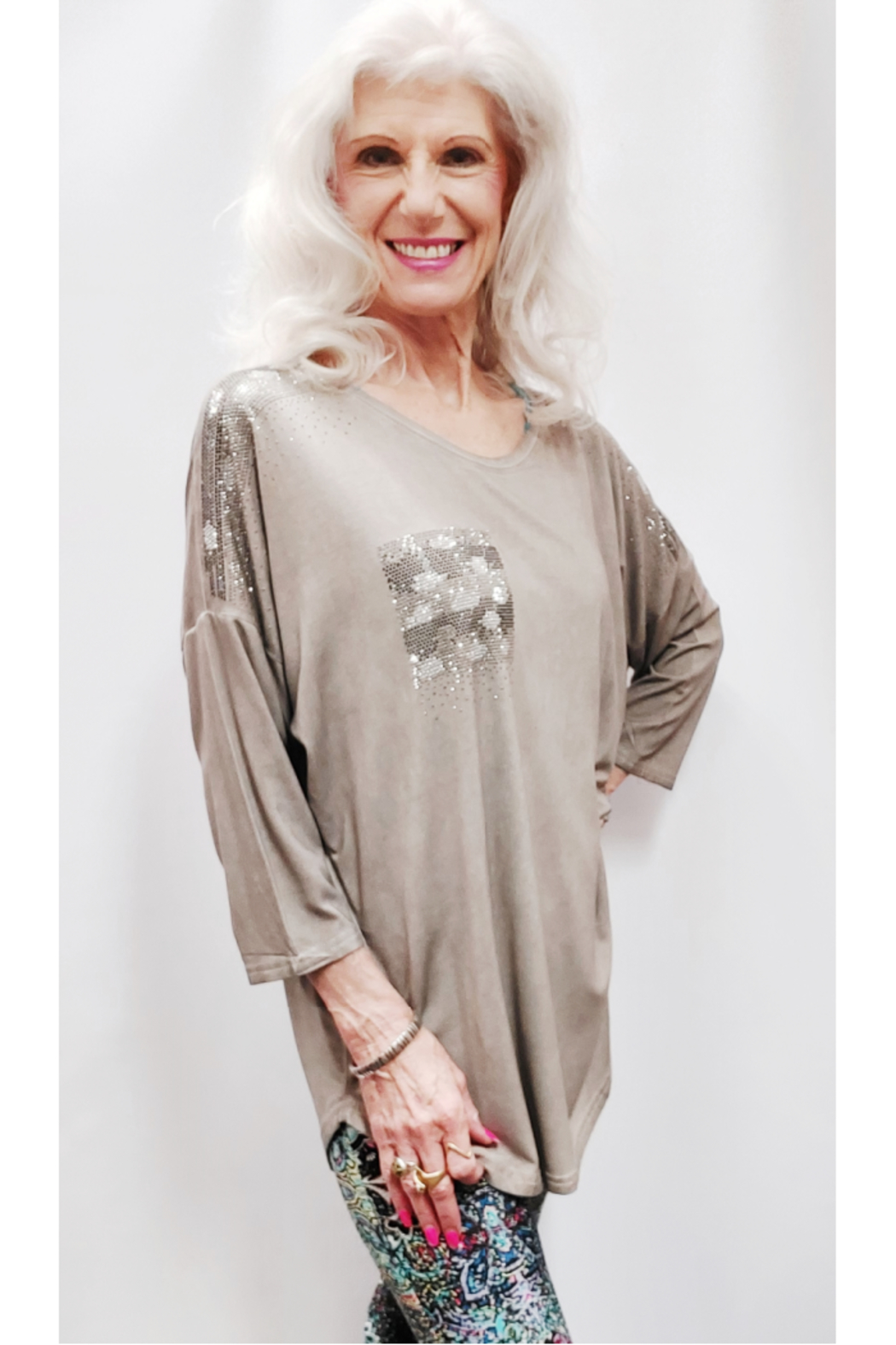 Apparel Love Shimmer Detailed Tunic Top - Front Full Image