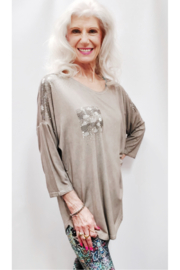 Apparel Love Shimmer Detailed Tunic Top - Front full body