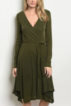 Fashion Shimmer Faux Wrap Dress - Product List Image