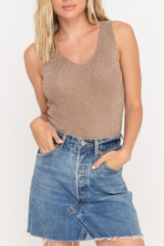 Lush  Shimmer Laceup Tank - Front cropped