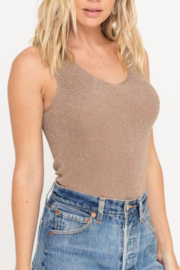 Lush  Shimmer Laceup Tank - Side cropped