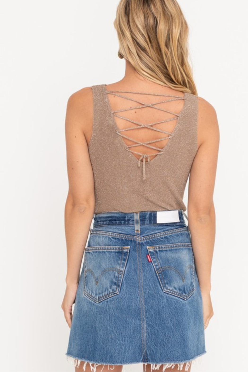 Lush  Shimmer Laceup Tank - Front Full Image