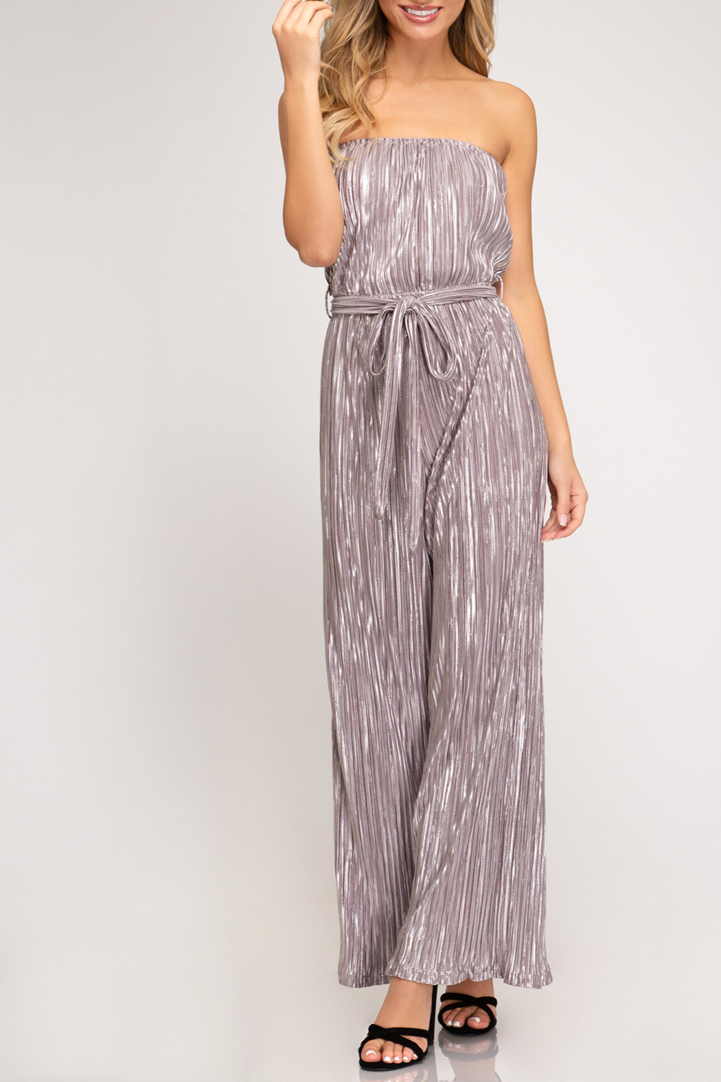 She + Sky Shimmer On Jumpsuit - Front Cropped Image
