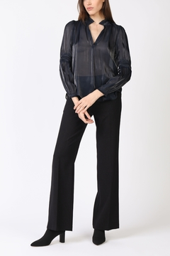 Current Air Shimmer Ruffle Split Neck Blouse - Product List Image