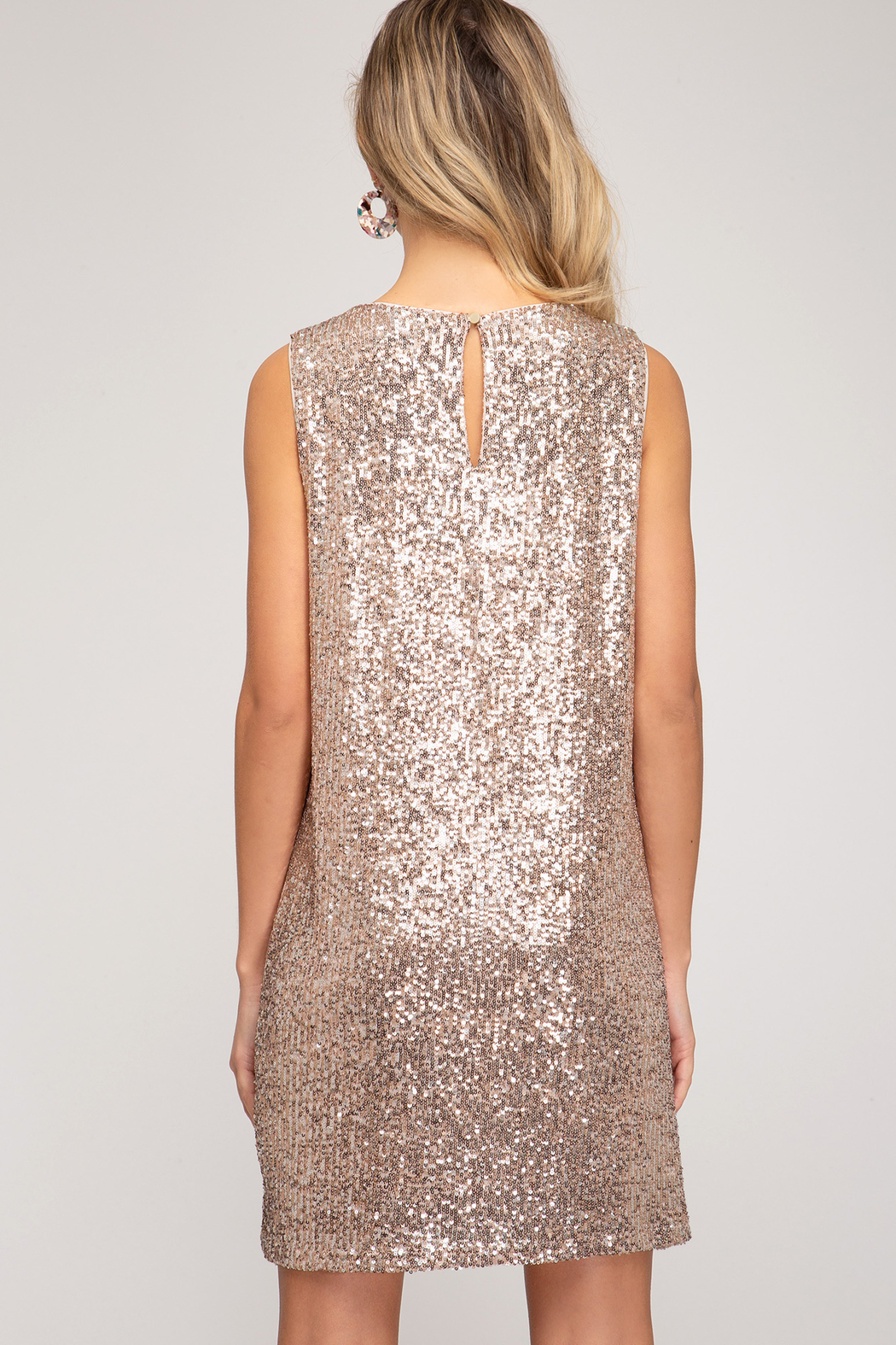 She & Sky  Shimmer Sequin Shift - Front Full Image