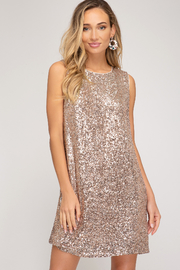 She & Sky  Shimmer Sequin Shift - Front cropped