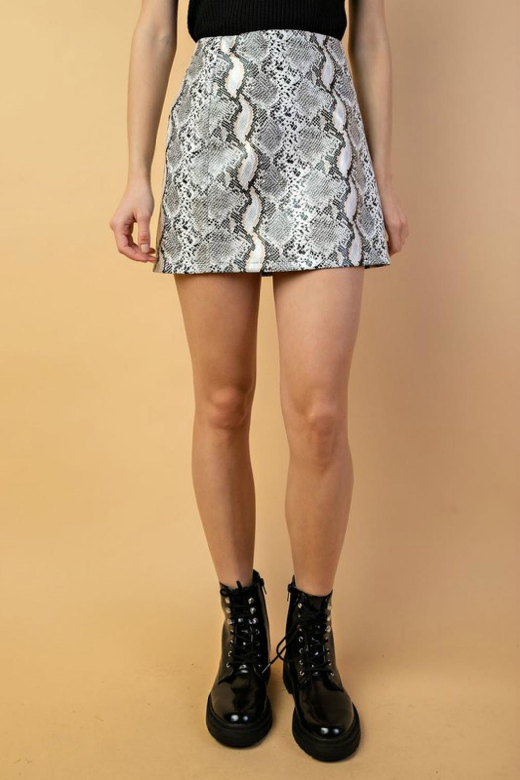 Pretty Little Things Shimmer Snakeskin Skirt - Front Cropped Image
