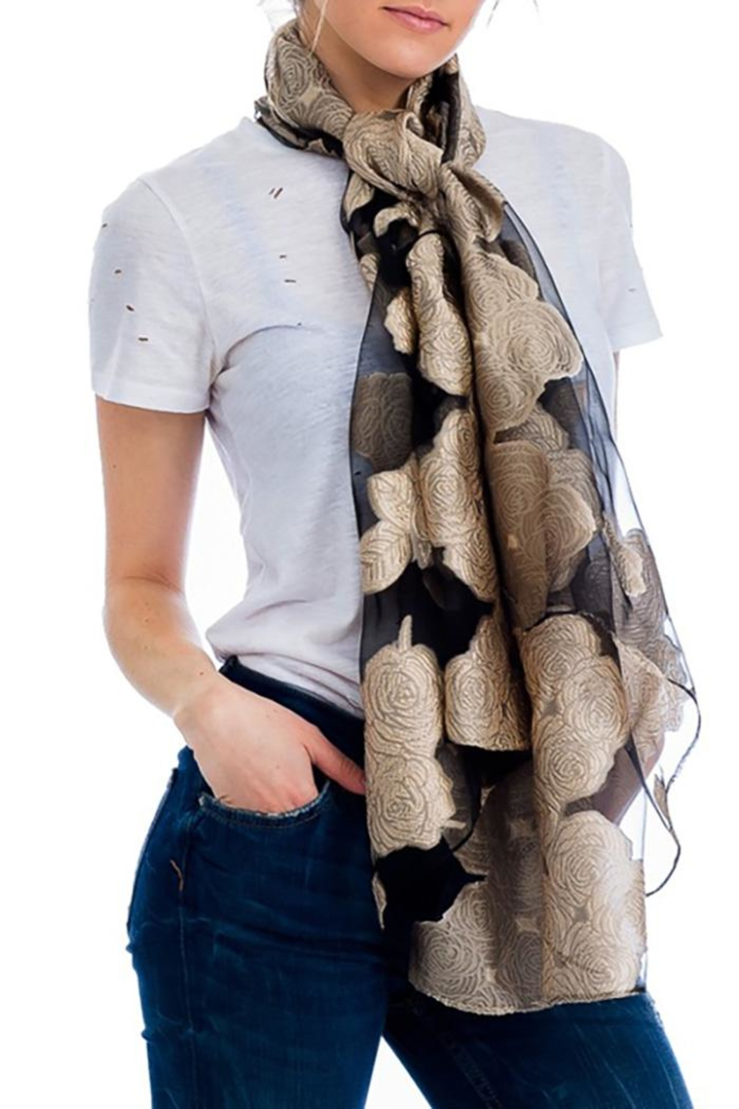 Nadya's Closet Shimmered Roses Scarf - Front Cropped Image