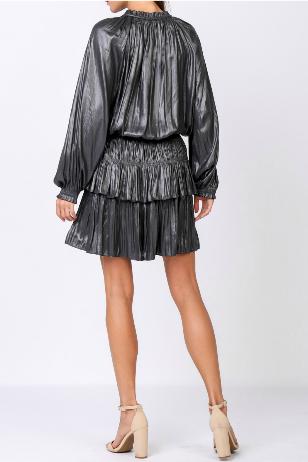 Current Air Shimmering mini dress with pleated skirt - Front Full Image