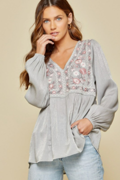 Shoptiques Product: Shimmery Embroidery Top