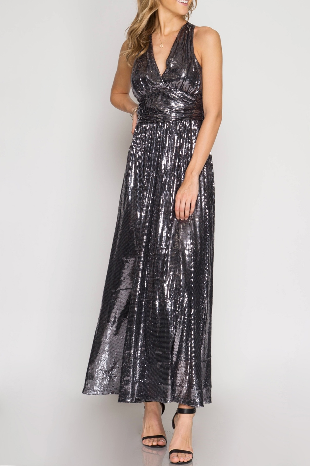 She + Sky Shine Bright Maxi Dress - Front Cropped Image