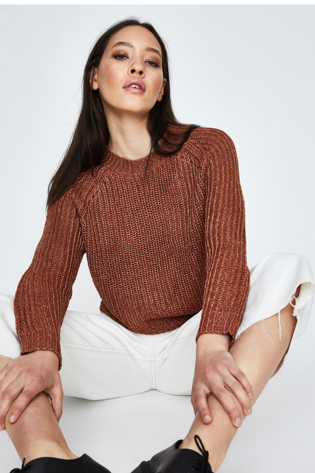 MinkPink Shine On Lurex Sweater - Back Cropped Image