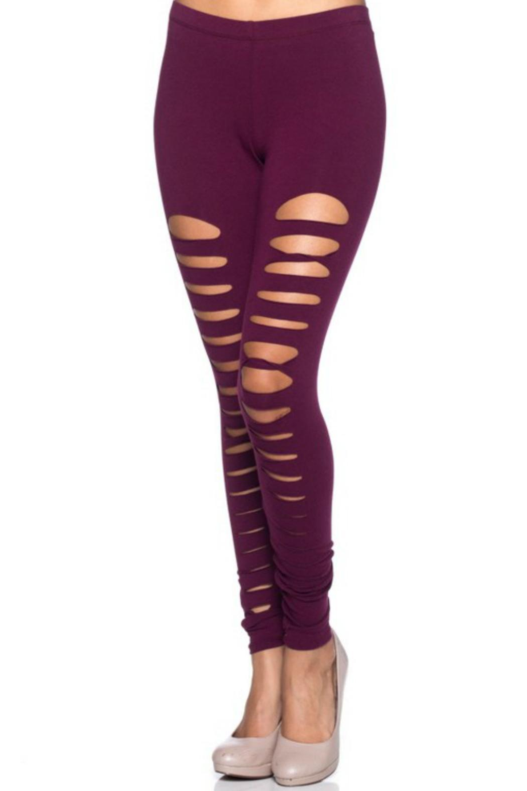 Shine Brand Cutout Skinny Leggings - Front Cropped Image