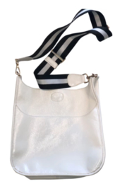 Ahdorned Shiny Faux Leather Messenger W/ Adjustable Stripe Strap - Front cropped