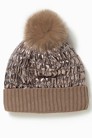 Look by M Shiny Puffer Pom Pom Hat - Front cropped