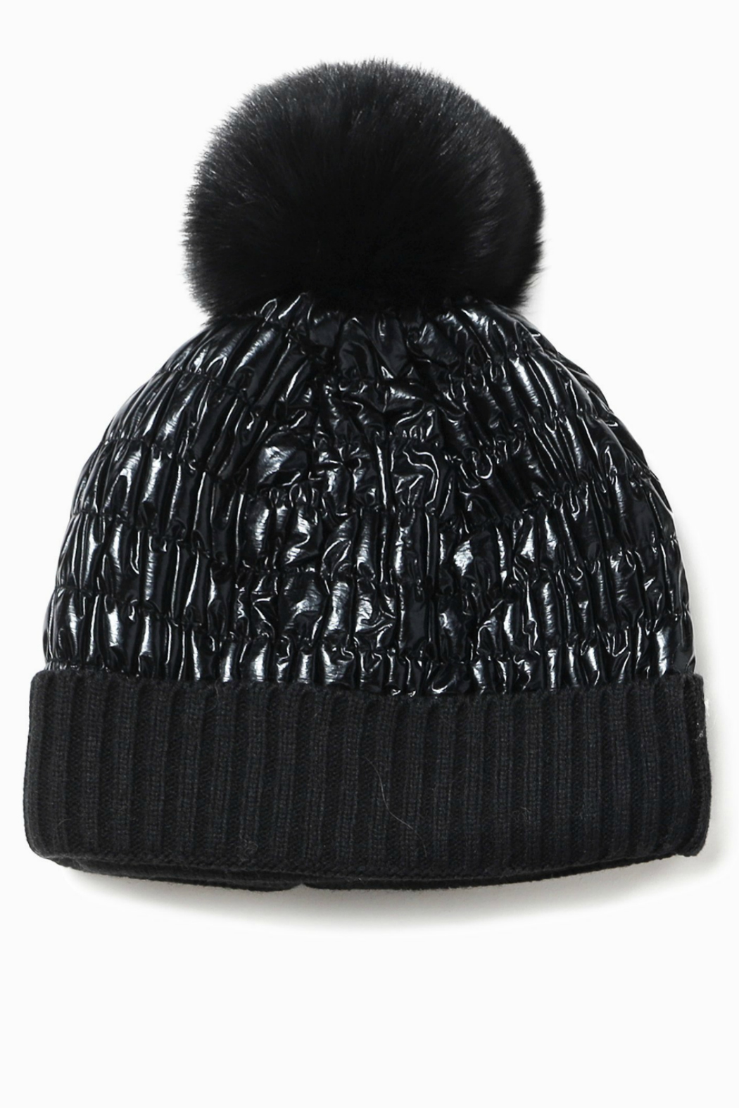 Look by M Shiny Puffer Pom Pom Hat - Front Cropped Image
