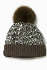 Look by M Shiny Puffer Pom Pom Hat - Product Mini Image