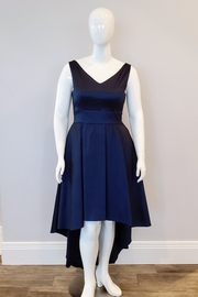 Frank Lyman Shiny Taffeta Hi-Low Dress, Navy - Product Mini Image