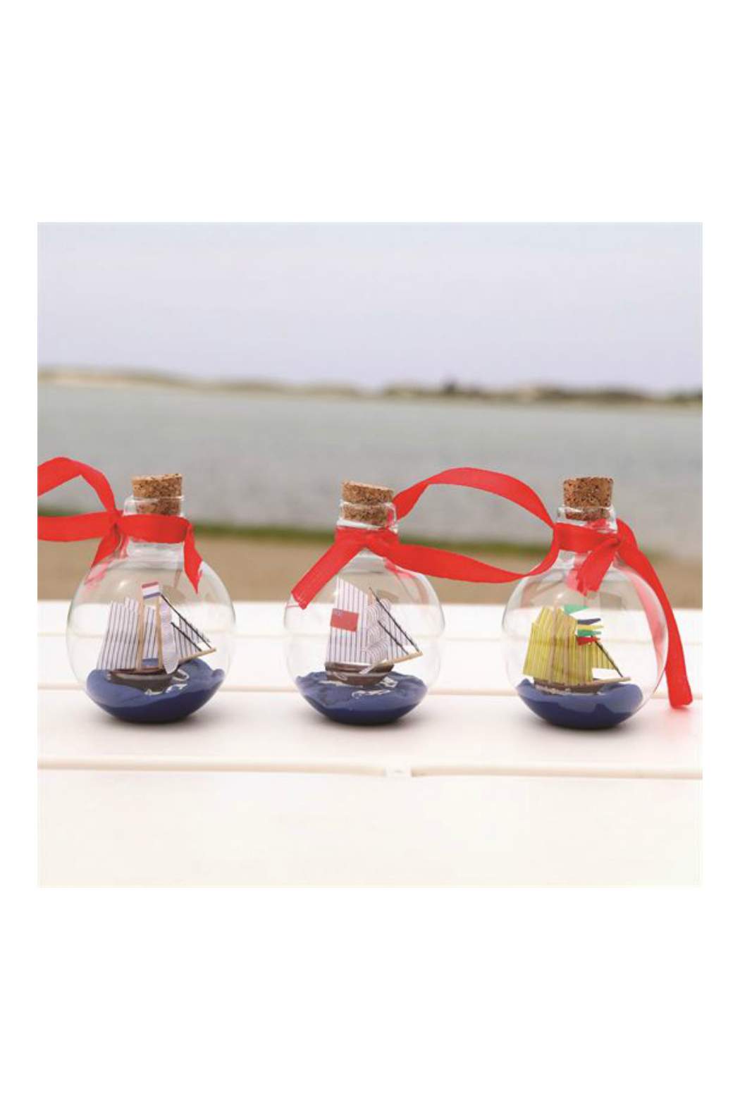 DEI SHIP IN A BOTTLE ORNAMENT - Front Full Image